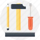 design, development, engineering, hammer, instrument, pencil, tool icon