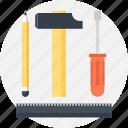 design, development, engineering, hammer, instrument, pencil, tool