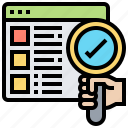 checklist, inspection, overview, search, verification icon