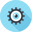 cogwheel, creative, eye, gear, process, view, vision icon