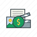 media, planning, money, multimedia, cash, plan icon