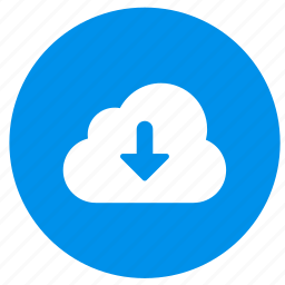 arrow, cloud, direction, down, download icon