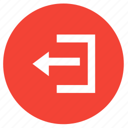 arrow, left, log out, out, sign out icon