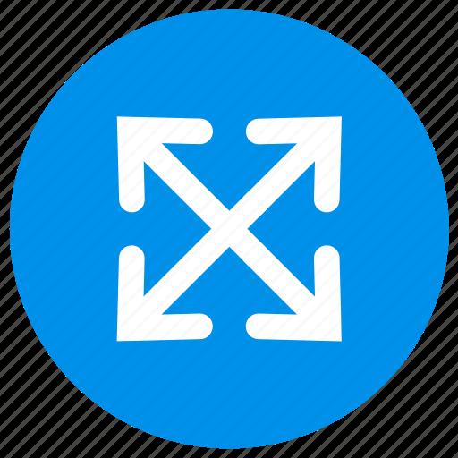 arrow, arrows, fullscreen, multimedia, player, round, video icon