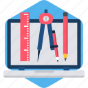 laptop, office, pencil, screen, stationary, stationery icon