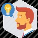 bulb, idea, lamp, light, man, person, profile icon