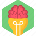 brain, bulb, head, idea, lightbulb, mind, power icon