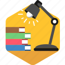 book, education, knowledge, lamp, learning, light, study icon