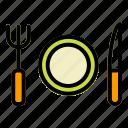 dinner, fork, resaurant, service