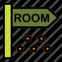 bord, hotel, room, sign