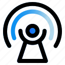 connecting, podcast, radio, signal icon