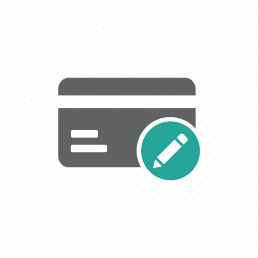 card, credit card, edit, finance, payment, pen, pencil icon