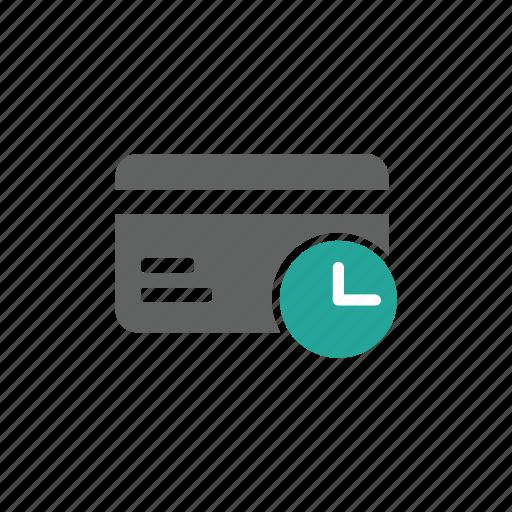card, clock, credit card, delay, finance, guardar, later, save icon