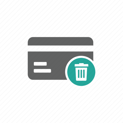 credit card, delete, finance, payment, remove, trash, trash bin icon