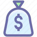 cash bag, dollar, earning dollar, money, pay, payment, price icon
