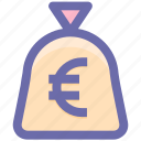cash bag, earning euro, euro, money, pay, payment, price