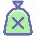 cash, cash bag, cross, money, payment, price, sack of money icon
