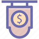 board, currency, dollar, dollar sign icon
