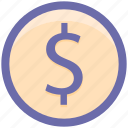 circle, currency, dollar sign, dollar value, dollars, finance, money icon