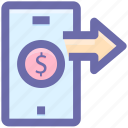 arrow, dollar, dollar sign, mobile, online payment, right arrow, smartphone icon