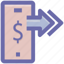 arrows, dollar, dollar sign, mobile, online payment, right arrows, smartphone icon