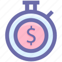clock, countdown, deadline, dollar, stopwatch, timer icon