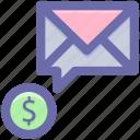 dollar envelope, dollar sign, email, envelope, letter pack, message icon