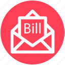 2, bill email, bill in letter, email, invoice, letter, letter envelope icon