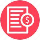 dollar sign, paper, .svg, file, document, page