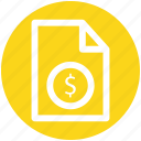 .svg, bill, document, dollar sign, file, money, paper icon