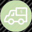 .svg, currency, dollar, dollar van, money, truck, van icon