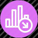 .svg, bar, chart, diagram, down, graph down, pie chart icon