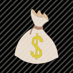 bag, cartoon vector, currency, dollar, finance, money, sack icon