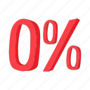 cartoon, number, percent, percentage, rate, sale, zero icon