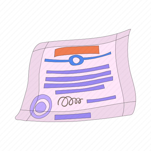 agreement, business, cartoon, certificate, document, paper, seal icon