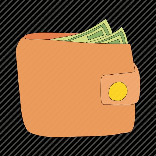 cartoon, credit, finance, money, purse, shopping, wallet icon