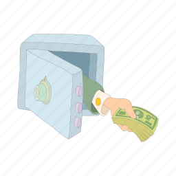 cartoon, finance, hand, line, money, safe, thin icon