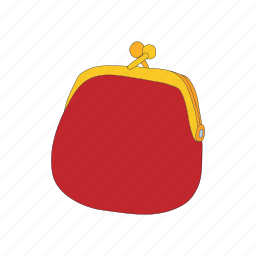 cartoon, money, pouch, purse, red, wallet, wealth icon
