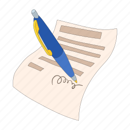 agreement, business, cartoon, contract, document, pen icon