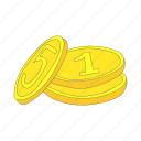 business, cartoon, coin, finance, gold, metal, money icon