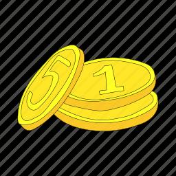 business, cartoon, coin, finance, gold, metal, money icon