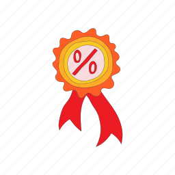 badge, banner, cartoon, offer, percent, rosette, sale icon