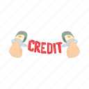 cartoon, chain, credit, debt, hand, handcuffs, money icon