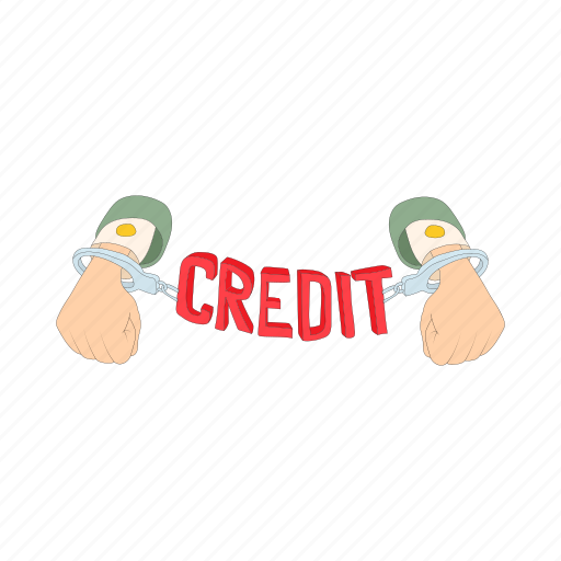 cartoon, chain, credit, debt, hand, handcuffs, money icon