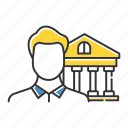 bank manager, banking, building, business, insurance, management, office icon