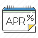 annual, apr, calender, interest, monthly, percentage, rate icon