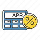 annual, apr, calculation, calculator, interest, percentage, rate icon