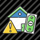 bankrupcy, crisis, danger, debt, home, house, risk icon