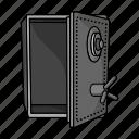 empty, robbery, safe, vault