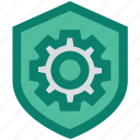 gear, protection, security, settings, shield icon